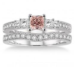 1.5 Carat Morganite & Diamond Antique Bridal set Halo Ring on 10k White Gold