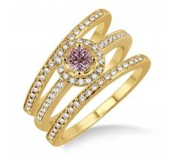 2 Carat Morganite & Diamond Trio set Halo Ring on 10k Yellow Gold