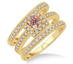 2 Carat Morganite & Diamond Trio set Halo Ring with Princes Cut diamond on 10k Yellow Gold