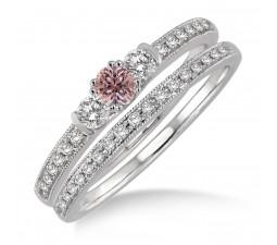 1.5 Carat Morganite & Diamond Three Stone Bridal Set on 10k White Gold