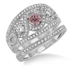 2 Carat Morganite & Diamond Trilogy set Ring on 10k White Gold