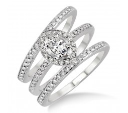2.00 carat Antique Trio set Halo Ring with Marquise Cut diamond in 10k White Gold
