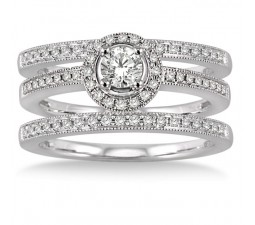 2.00 carat Antique Trio set Halo Ring with Round Cut diamond in 10k White Gold