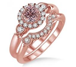 1.25 Carat Morganite & Diamond Antique Three Stone Flower Halo Bridal Set on 10k Rose Gold