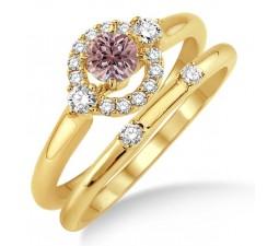 1.25 Carat Morganite & Diamond Elegant Flower Halo Bridal Set on 10k Yellow Gold