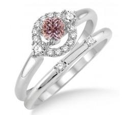 1.25 Carat Morganite & Diamond Elegant Flower Halo Bridal Set on 10k White Gold