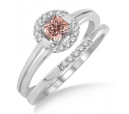 1.25 Carat Morganite & Diamond Elegant Halo Bridal Set on 10k White Gold