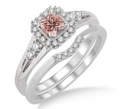 1.5 Carat Morganite & Diamond Bridal Set Halo Engagement Ring Bridal Set on 10k White Gold