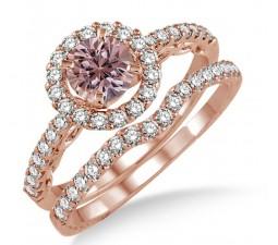 1.5 Carat Morganite & Diamond Antique Floral Halo Bridal set on 10k Rose Gold