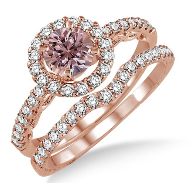 1 5 carat morganite diamond antique floral halo bridal. Black Bedroom Furniture Sets. Home Design Ideas