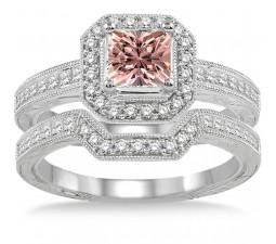 2 Carat Morganite & Diamond Antique Halo Bridal set on 10k White Gold