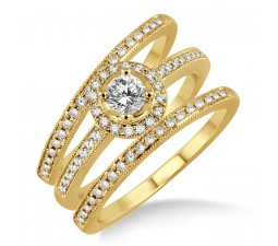 2.00 carat Antique Trio set Halo Ring with Round Cut diamond in 10k Yellow Gold