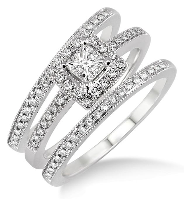 2.00 carat Antique Trio set Halo Ring with Princess Cut diamond in ...
