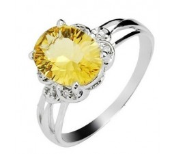 1.50 Carat Citrine Engagement Ring on Silver