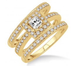 200 Carat Antique Trio Set Halo Ring With Princes Cut Diamond In 10k Yellow Gold