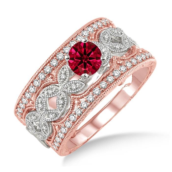 2 Carat Ruby Amp Diamond Antique Trio Bridal Set Engagement