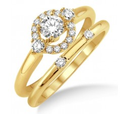 0.50 Carat Elegant Flower Halo Bridal Set with Round Cut Diamond in 10k Yellow Gold