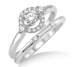 0.50 Carat Elegant Flower Halo Bridal Set with Round Cut Diamond in 10k White Gold
