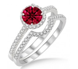 2 Carat Ruby & Diamond Halo Bridal Set Engagement Ring  on 10k White Gold