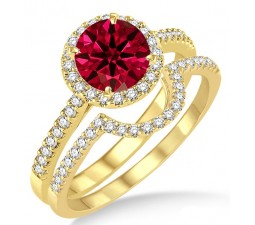 2 Carat Ruby & Diamond Halo Bridal Set Engagement Ring on 10k Yellow Gold