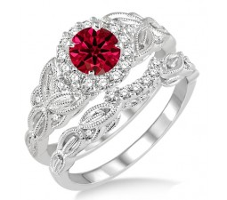 1.25 Carat Ruby & Diamond Vintage floral Bridal Set Engagement Ring  on 10k White Gold