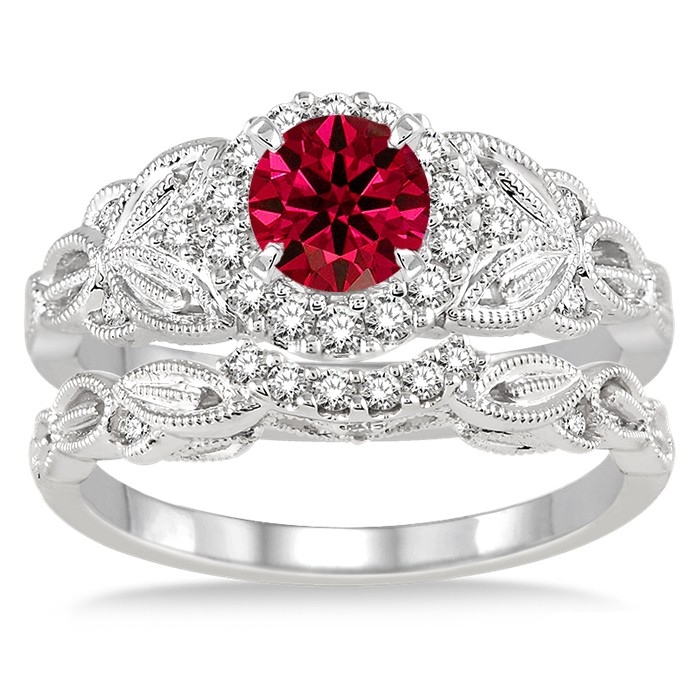1.25 Carat Ruby & Diamond Vintage Floral Bridal Set