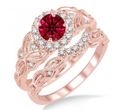 1.25 Carat Ruby & Diamond Vintage floral Bridal Set Engagement Ring on 10k Rose Gold