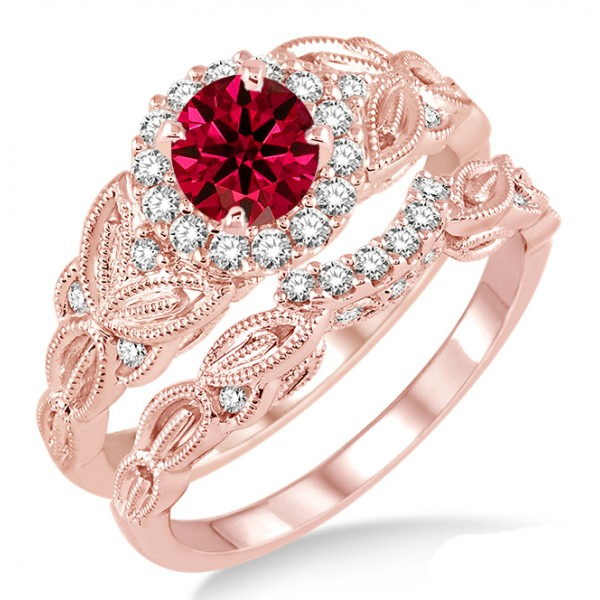 1 25 Carat Ruby & Diamond Vintage floral Bridal Set Engagement Ring on 10