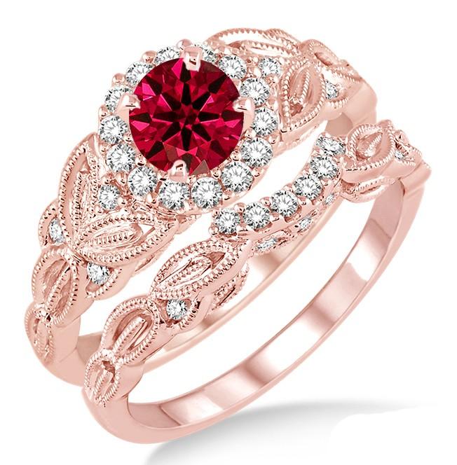 125 Carat Ruby Diamond Vintage floral Bridal Set Engagement Ring