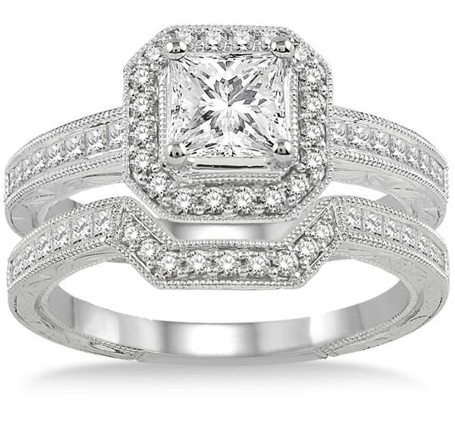 2.00 carat Antique Halo Bridal set with Princess Cut diamond in 10k ...