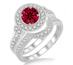 1.5 Carat Ruby & Diamond Antique Halo Bridal Set Engagement Ring  on 10k White Gold