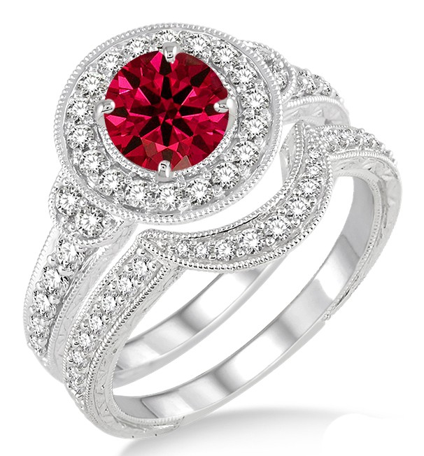 15 Carat Ruby Diamond Antique Halo Bridal Set Engagement Ring on