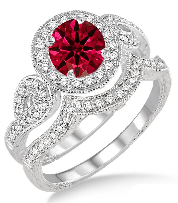 1 5 Carat Ruby Diamond Antique Halo Bridal Set Engagement Ring On 10k W