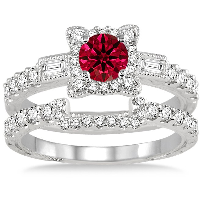 1.5 Carat Ruby & Diamond Vintage Floral Bridal Set