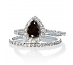 2 Carat Pear Cut Black Diamond Halo Bridal Set for Woman on 10k White Gold