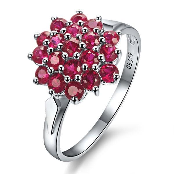 Ruby Engagement Ring on 18k White Gold JeenJewels