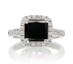 1.5 Carat Cushion Cut Black Diamond Halo Engagement Ring for Women on 10k White Gold