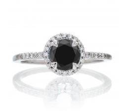 1.5 Carat Round Cut Black Diamond Halo Classic Diamond Engagement Ring on 10k White Gold
