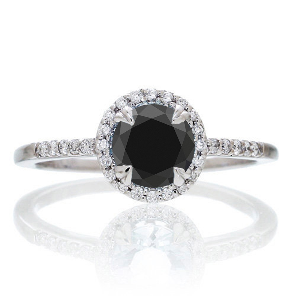 15 Carat Round Cut Black Diamond Halo Classic Diamond Engagement Ring On  10k White Gold