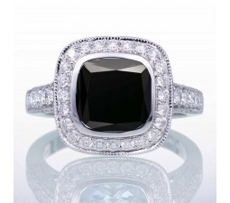 1.5 Carat Cushion Cut Black Diamond and Diamond Halo Vintage Engagement Ring for Women on 10k White Gold