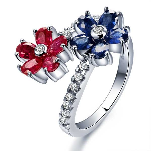Ruby Sapphire And Diamond Engagement Ring On 10k White