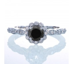 1.5 Carat Round Cut Black Diamond and Diamond Flower Vintage Designer Engagement Ring on 10k White Gold