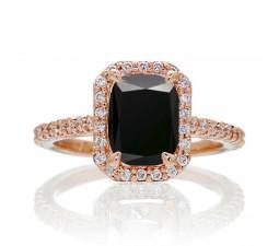 1.5 Carat Emerald Cut Black Diamond and Diamond Halo Engagement Ring on 10k Rose Gold