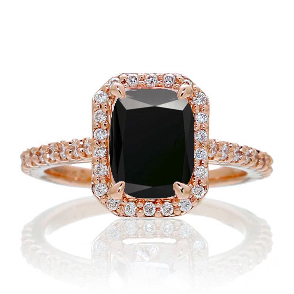 1 5 Carat Emerald Cut Black Diamond and Diamond Halo Engagement