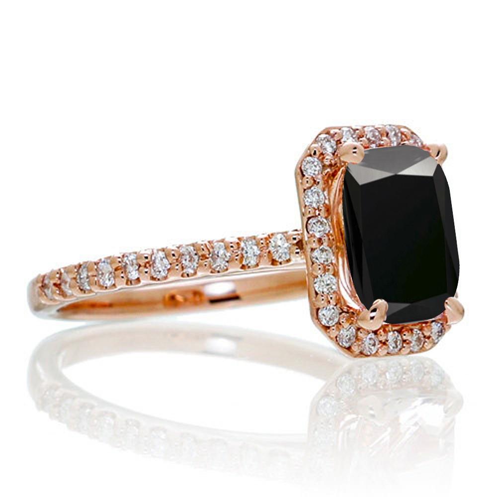 15 Carat Emerald Cut Black Diamond And Diamond Halo Engagement Ring On  10k Rose Gold