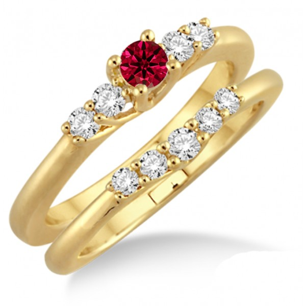 1.25 Carat Ruby & Diamond Affordable Bridal Set  on 10k Yellow Gold