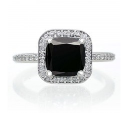 1.5 Carat Princess Cut Black Diamond Classic Halo Engagement Ring on 10k White Gold