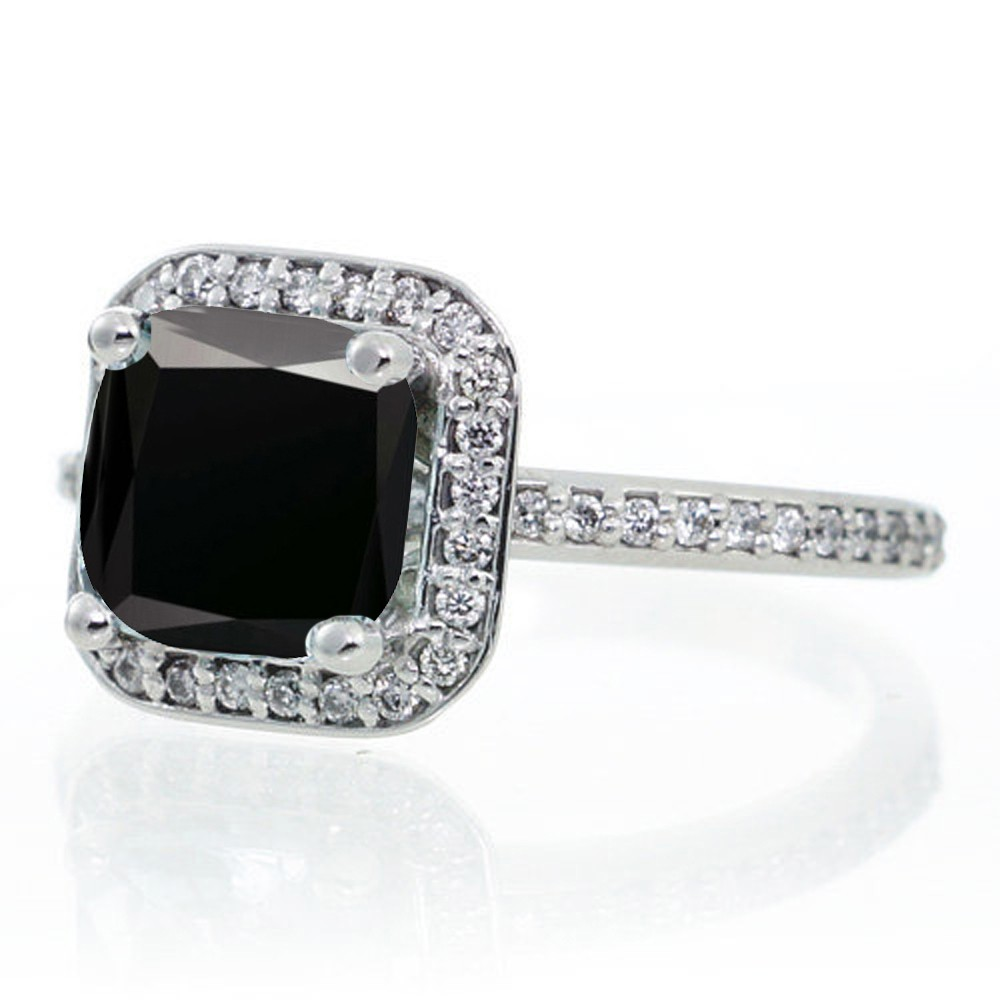 15 Carat Princess Cut Black Diamond Classic Halo Engagement Ring On  10k White Gold
