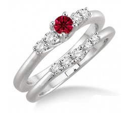 1.25 Carat Ruby & Diamond Inexpensive Bridal Set  on 10k White Gold