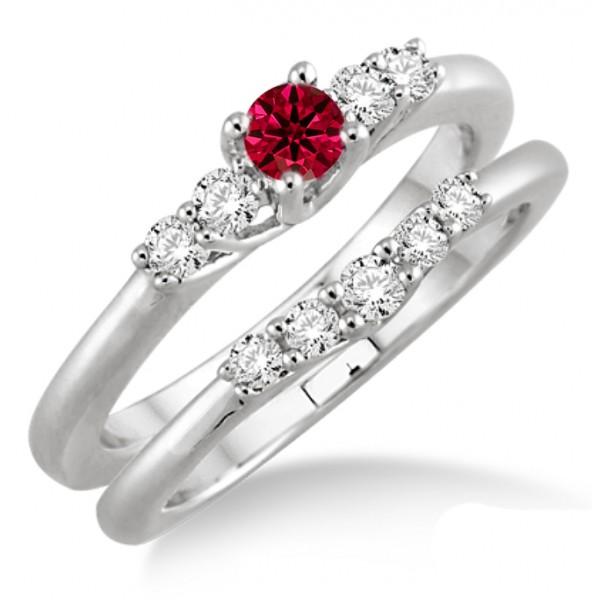1.25 Carat Ruby & Diamond Inexpensive Bridal Set  on 10k White Gold